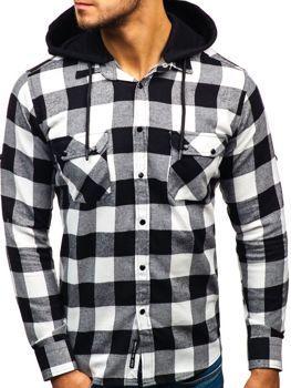 Černo-bílá pánská flanelová košile s dlouhým rukávem Bolf 1031