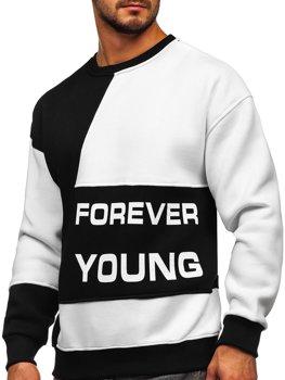 Černo-bílá pánská mikina bez kapuce s potiskem Forever Young Bolf 0003