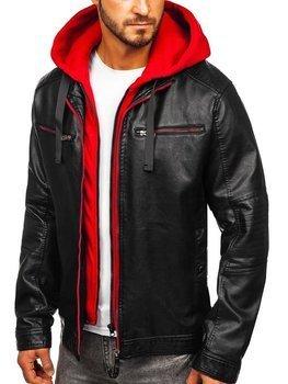 Černo-červená pánská koženková bunda s kapucí Bolf 6129