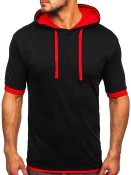 Černo-červené pánské tričko bez potisku Bolf 08