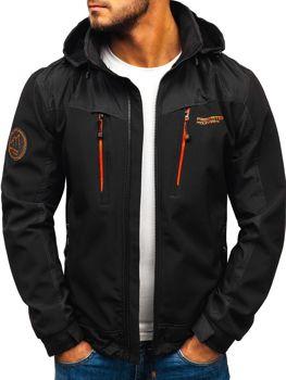 Černo-oránžová pánská softshellová bunda Bolf P185
