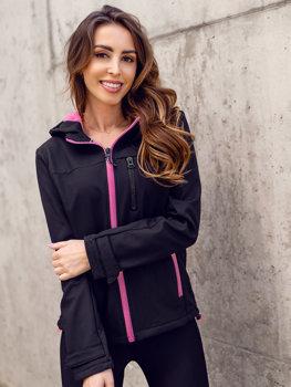 Černo-růžová dámská přechodová softshellová bunda Bolf HH018
