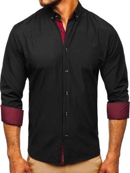 Černo-vínová pánská elegantní košile s dlouhým rukávem Bolf 5722-1