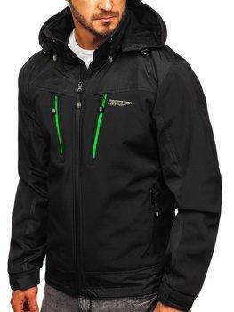 Černo-zelená pánská softshellová bunda Bolf P185