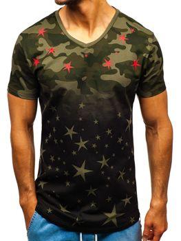 Černo-zelené pánské maskáčové tričko s potiskem Bolf 324