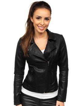 Černý dámský koženkový křivák bunda Bolf 2065