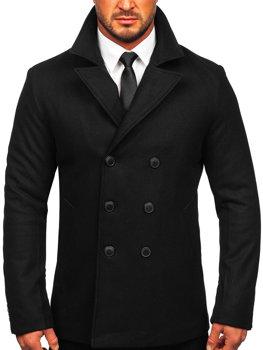 Černý pánský dvouřadový zimní kabát s výsokým limcem Bolf 8801