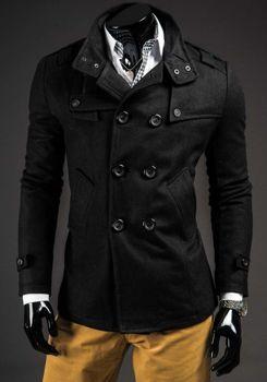 Černý pánský kabát Bolf 8857B