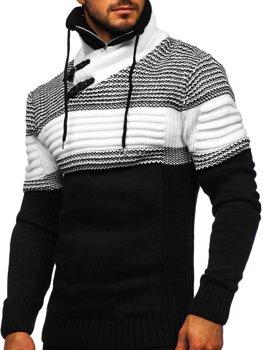 Černý silný pánský svetr s vysokým límcem Bolf 2002