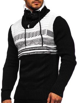 Černý silný pánský svetr s vysokým límcem Bolf 2020