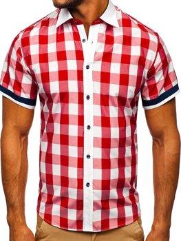 Červená pánská elegantní kostkovaná košile s krátkým rukávem Bolf 8901 1fdefd5932
