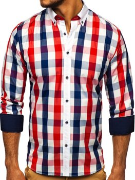 Červená pánská kostkovaná košile s dlouhým rukávem Bolf 9718