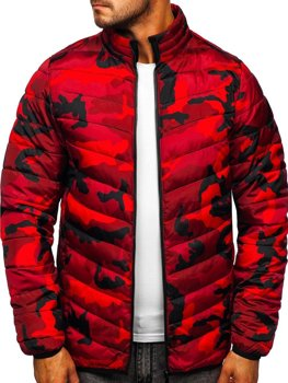 Červená pánská prošívaná maskáčová sportovní zimní bunda Bolf SM32