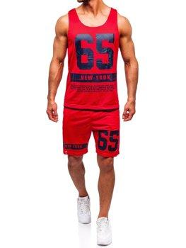 Červená pánská sada tričko + kraťasy Bolf 100777