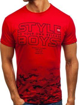 Červené pánské tričko s potiskem Bolf 0010