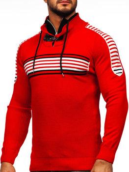 Červeno-černý pánský svetr Bolf 1013