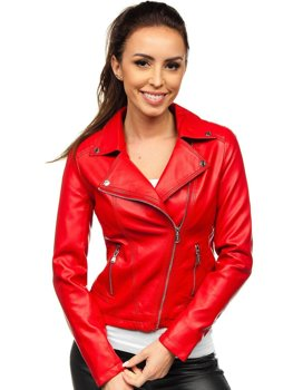 Červený dámský koženkový křivák bunda Bolf 6703