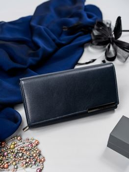 Dámská tmavě modrá kožená peněženka 2686