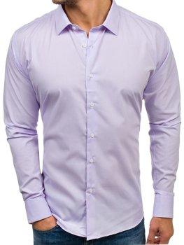 Fialová pánská elegantní košile s dlouhým rukávem Bolf TS100