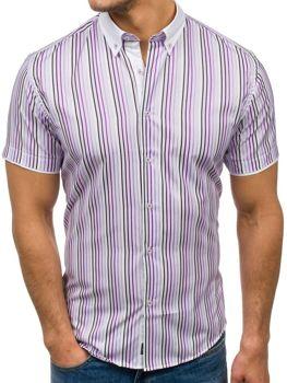 Fialová pánská proužkovaná košile s krátkým rukávem Bolf 5201