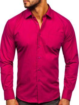 Fuksiová pánská elegantní košile s dlouhým rukávem Bolf 0003