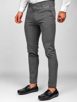 Grafitové pánské textilní chino kalhoty Bolf 0016