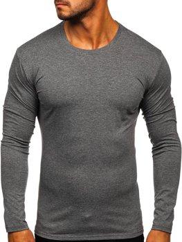 Grafitové pánské tričko s dlouhým rukávem bez potisku Bolf 2088L