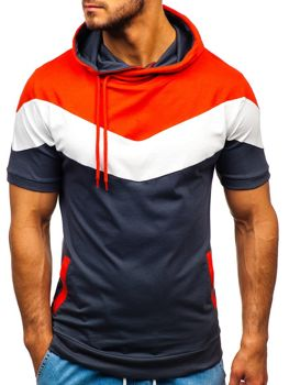 Grafitové pánské tričko s potiskem a kapucí Bolf 9026