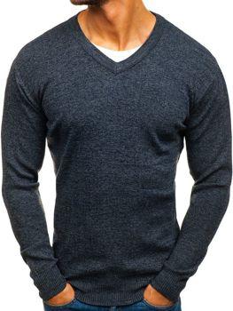 Grafitový pánský svetr s výstřihem do V Bolf H1816