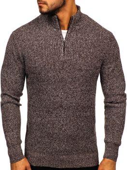 Hnědý pánský svetr s vysokým límcem Bolf H1936