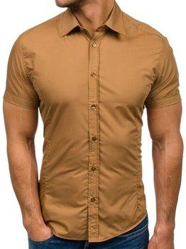 Kamelová pánská elegantní košile s krátkým rukávem Bolf 7501