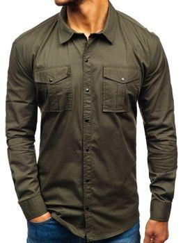 Khaki pánská košile s dlouhým rukávem Bolf 2058-1
