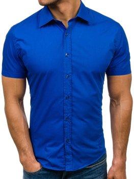 Královsky modrá pánská elegantní košile s krátkým rukávem Bolf 7501