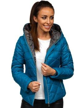 Modrá dámská prošívaná zimní bunda s kapucí Bolf A5701