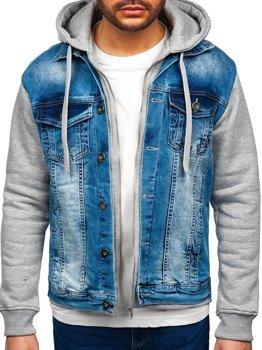 Modrá pánská džínová bunda s kapucí Bolf 10350