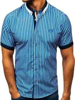 Modrá pánská elegantní kostkovaná košile s krátkým rukávem Bolf 4501