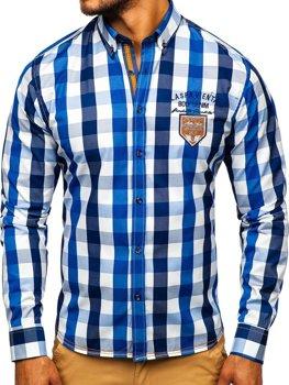 Modrá pánská kostkovaná košile s dlouhým rukávem Bolf 1766-1