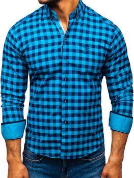 Modrá pánská kostkovaná košile s dlouhým rukávem Bolf 5816-A