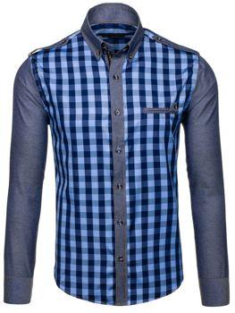 Modrá pánská kostkovaná košile s dlouhým rukávem Bolf 7704