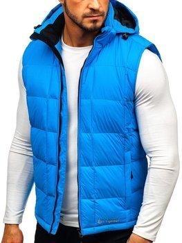 Modrá pánská prošívaná vesta s kapucí Bolf A5502