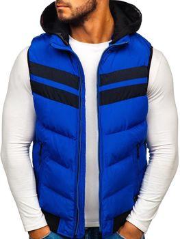 Modrá pánská vesta s kapucí Bolf 5803