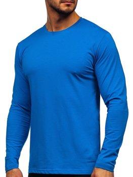 Modré pánské tričko s dlouhým rukávem bez potisku Bolf 172007