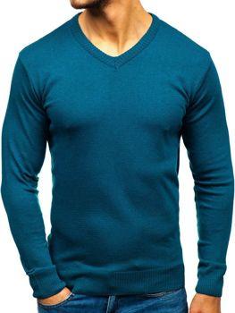 0252410b7f7 Modrý pánský svetr s výstřihem do V Bolf 6002