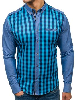 Mořská pánská kostkovaná košile s dlouhým rukávem Bolf 7704