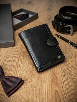 Pánská černá kožená peněženka 212