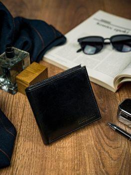 Pánská černá kožená peněženka 4587