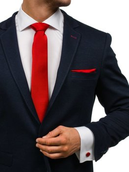 Pánská sada kravata, manžetové knoflíčky, tmavě červený kapesníček Bolf KSP01