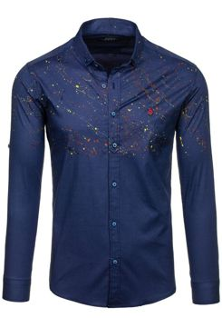Pánská tmavě modrá vzorovaná košile s dlouhým rukávem Bolf 1526