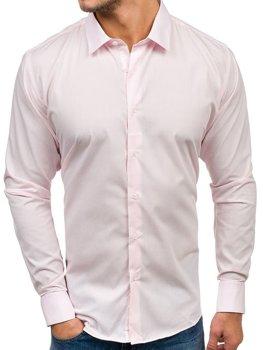 Růžová pánská elegantní košile s dlouhým rukávem Bolf TS100