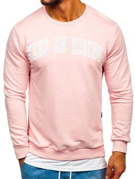 Růžová pánská mikina bez kapuce s potiskem Bolf 11114